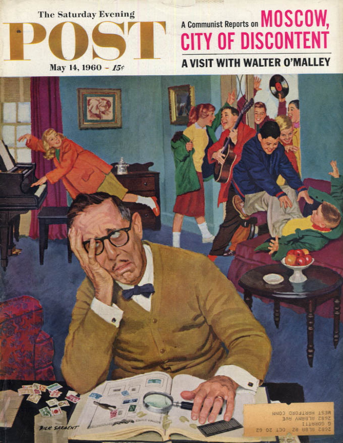 Image for SATURDAY EVENING POST COVER 5/14 1960 by Sargent teens interrupt stamp collector