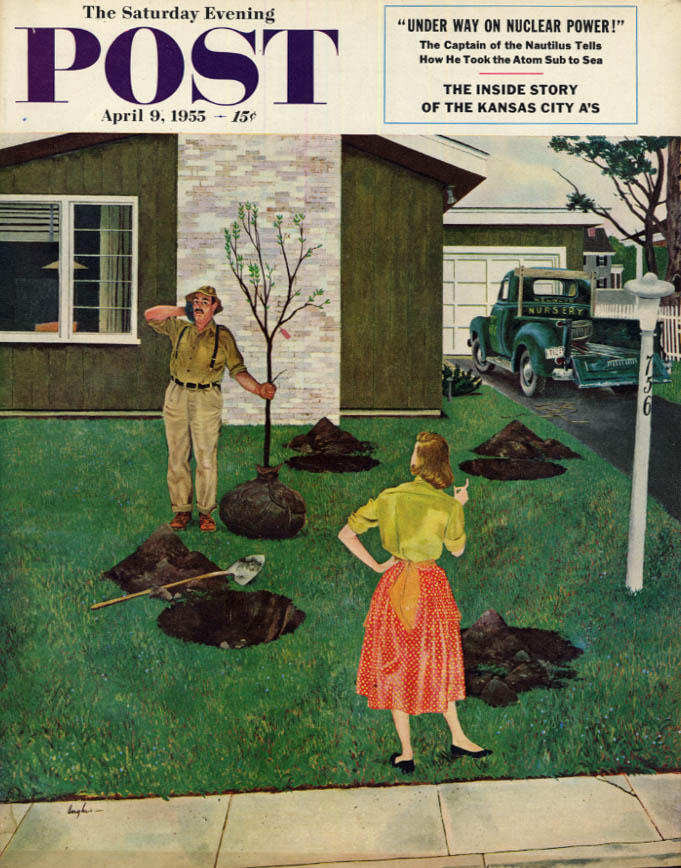Image for SATURDAY EVENING POST COVER 4/9 1955 by Hughes: wife frustrates tree planting