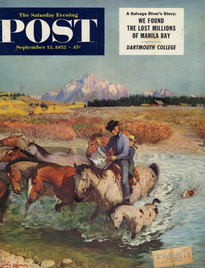Image for SATURDAY EVENING POST COVER 9/13 1953 by Clymer little girl her pony ford stream