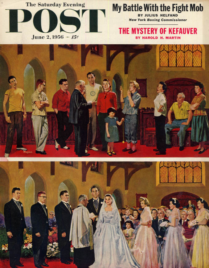 Image for SATURDAY EVENING POST COVER 6/2 1956 by Mayan: wedding rehearsal & real thing