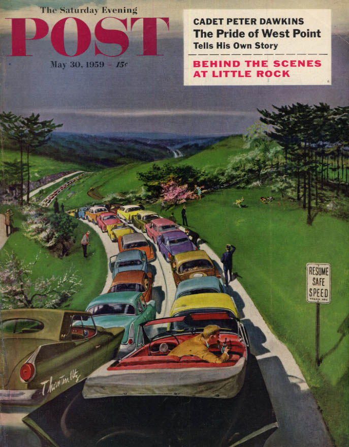 Image for SATURDAY EVENING POST COVER 5/30 1959 by Utz: bumper-to-bumper holiday traffic