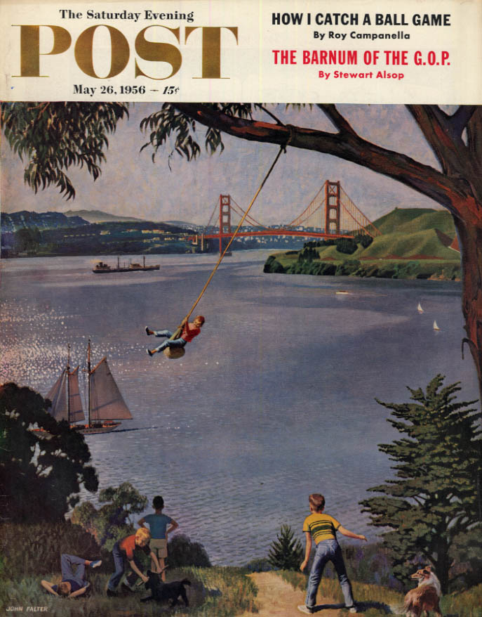 Image for SATURDAY EVENING POST COVER 5/26 1956 by Falter: Golden Gate tree swing on water