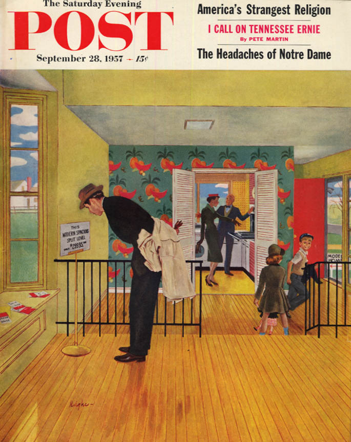 Image for SATURDAY EVENING POST COVER 9/28 1957 by Hughes Split-level open house how much?