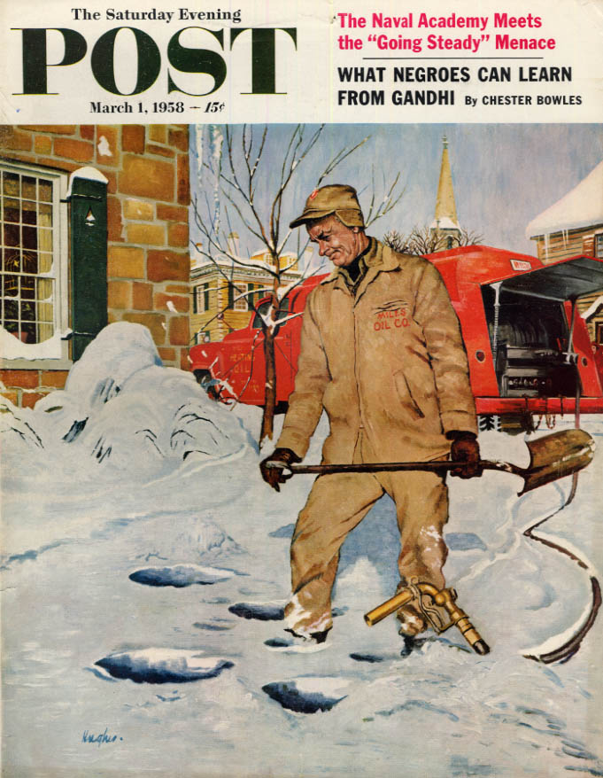 Image for SATURDAY EVENING POST COVER 3/1 1958 by Hughes: snow frustrates oil delivery man