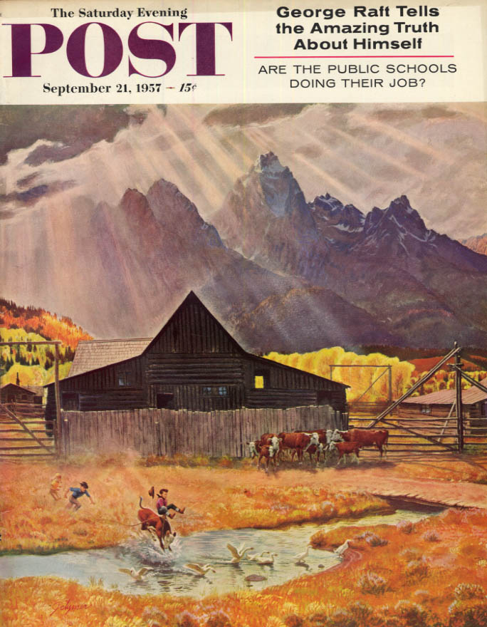 Image for SATURDAY EVENING POST COVER 9/21 1957 by Clymer: Kids ride calf into ranch pond