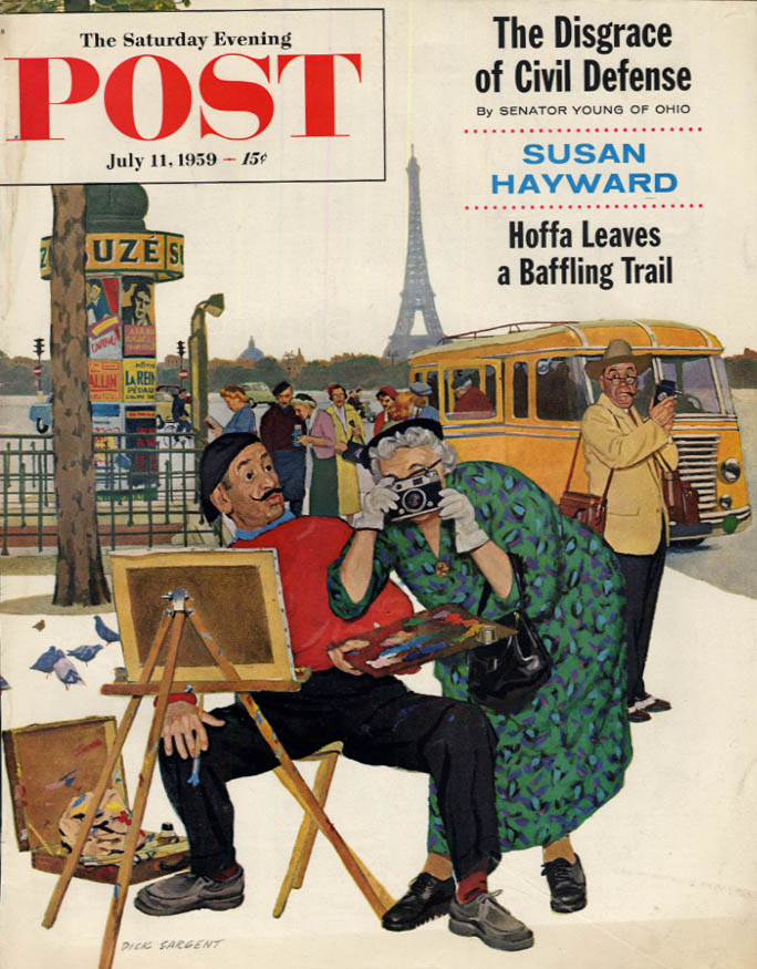 Image for SATURDAY EVENING POST COVER 7/11 1959 by Sargent: fat tourist snaps Paris artist