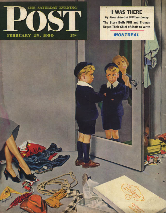 Image for SATURDAY EVENING POST COVER 2/25 1950 by Hughes: kids disdains his cute suit