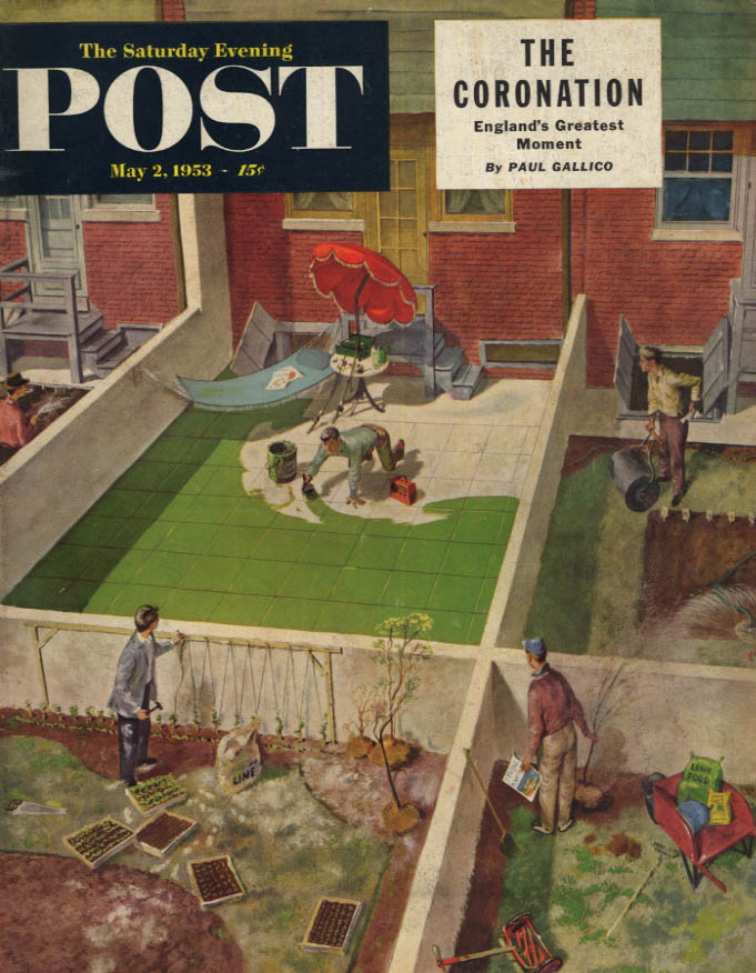 Image for SATURDAY EVENING POST COVER 5/2 1953 neighbor paints yard instead of a real lawn