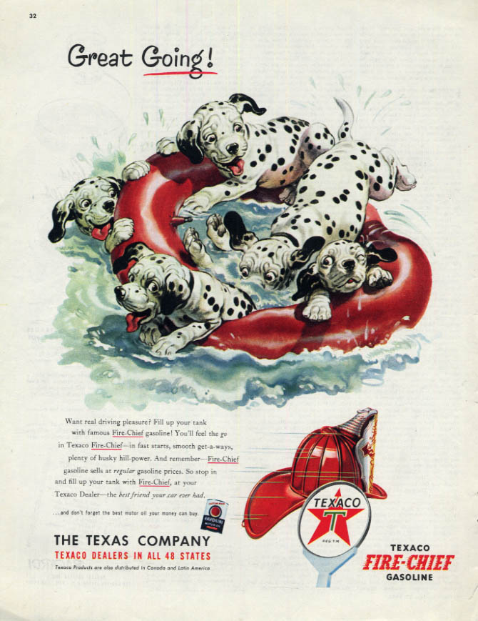 Image for Great Going! Texaco Gasoline Dalmatian Puppies ad 1953 inner tube ride Col