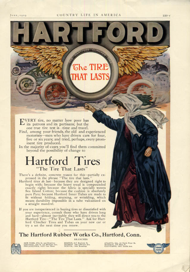 Image for The Tire That Lasts - Hartford Tires- Hartford Rubber Works ad 1909 CL