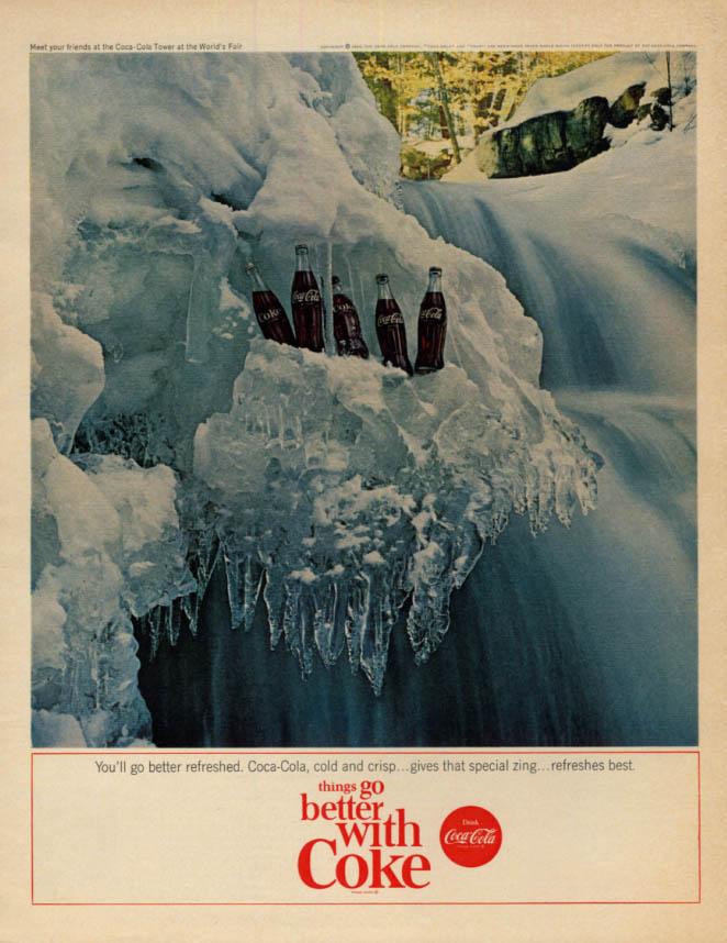 You'll go better refreshed Coca-Cola ad 1964 icy waterfall  McC