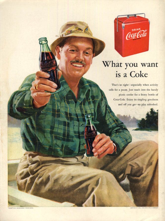 Image for What you want is a Coke - Coca-Cola ad 1952 fly fisherman L