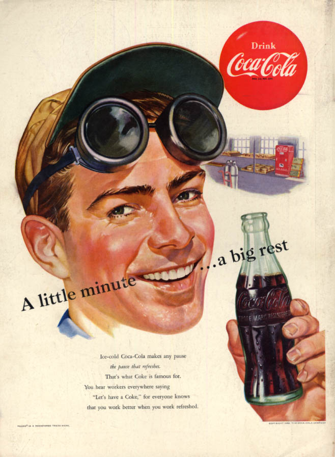 Image for A little minute - a big rest Coca-Cola ad 1952 welder in shop L
