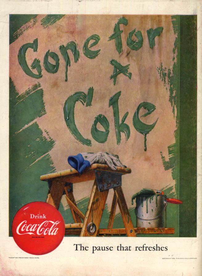 Image for Gone for a Coke - Coca-Cola ad 1952 partly painted wall L