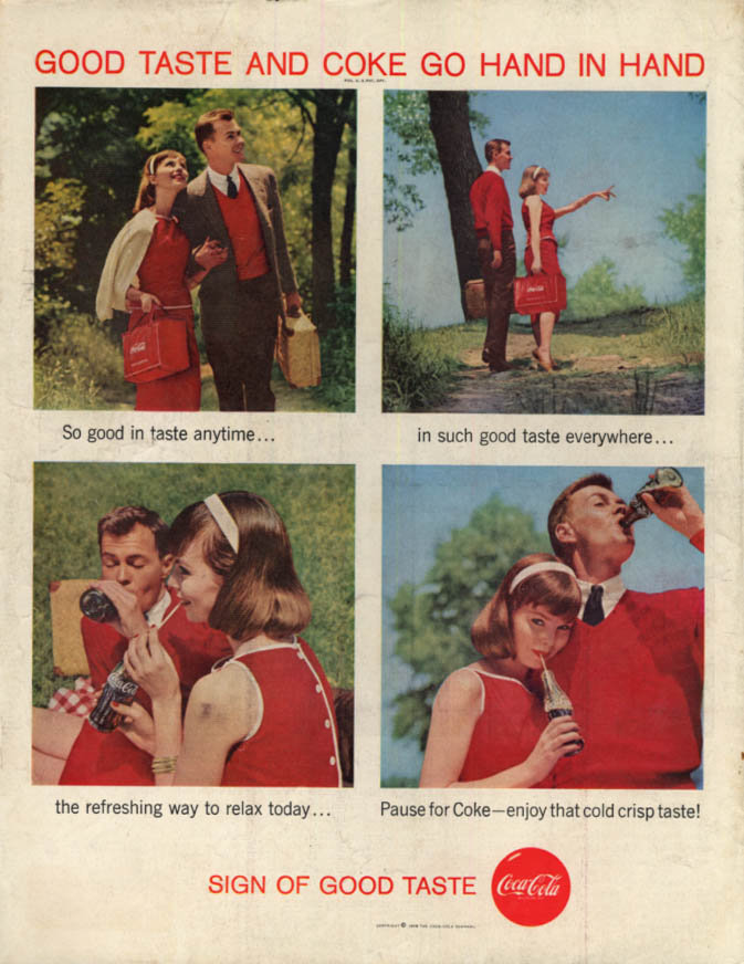 Image for Good Taste & Coke Go Hand in Hand Coca-Cola ad 1958 picnic couple SEP