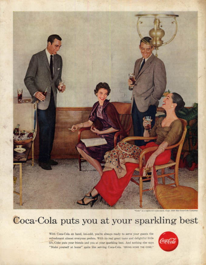 Image for Coca-Cola puts you at your sparkling best ad 1956 2 couples drink SEP
