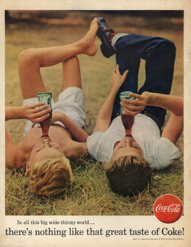 Image for In all this big wide thirsty world Coca-Cola ad 1956 kids lay down in grass BL