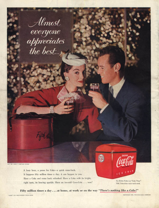 Image for A busy hours a pause for Coke - Coca-Cola ad 1955 5th Avenue shoppers SEP