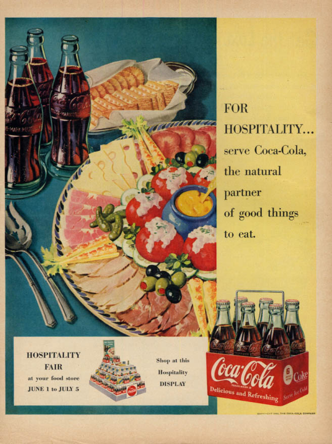 Image for For hospitality serve Coca-Cola ad 1950 coldcut platter McC