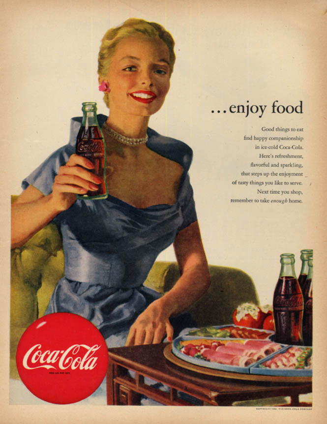 Image for Enjoy food Coca-Cola ad 1952 blonde in pearls McC