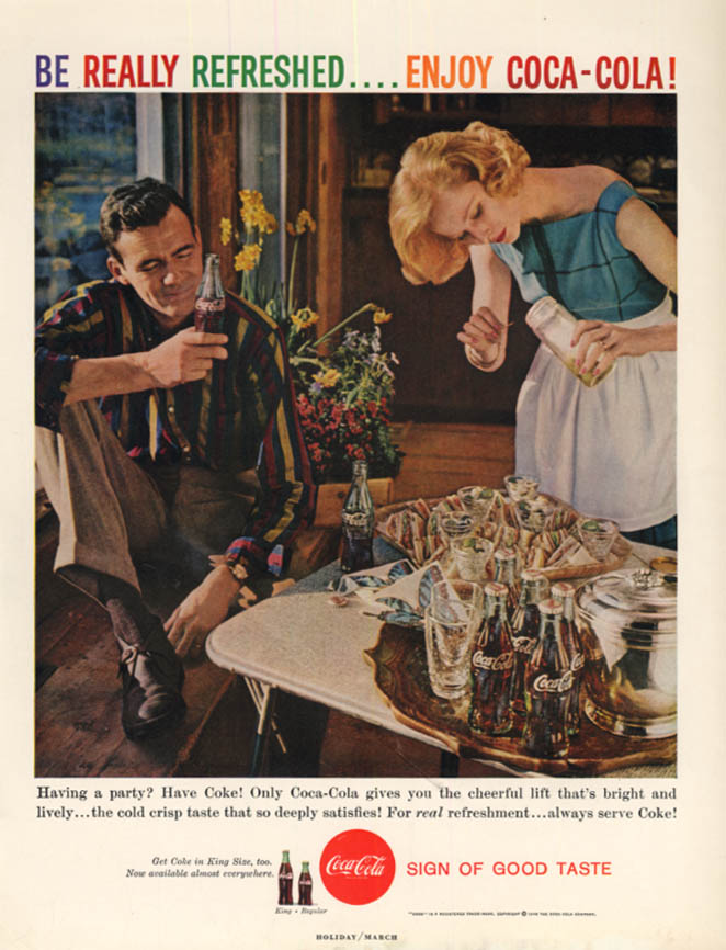 Image for Having a party? Have Coke! Coca-Cola ad 1959 couple prepares H