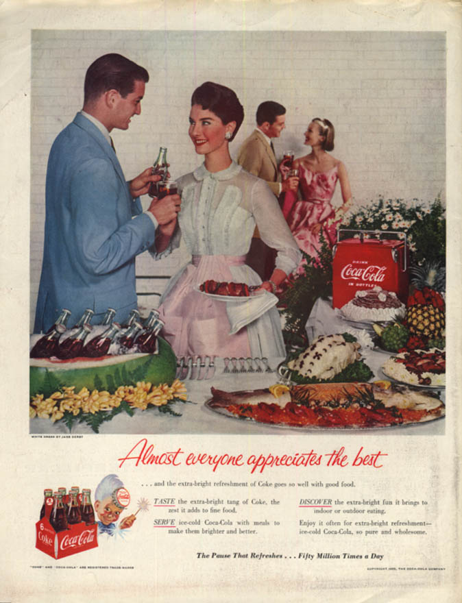 Image for Extra-bright Refreshment of Coke - Coca-Cola ad 1955 buffet party SEP
