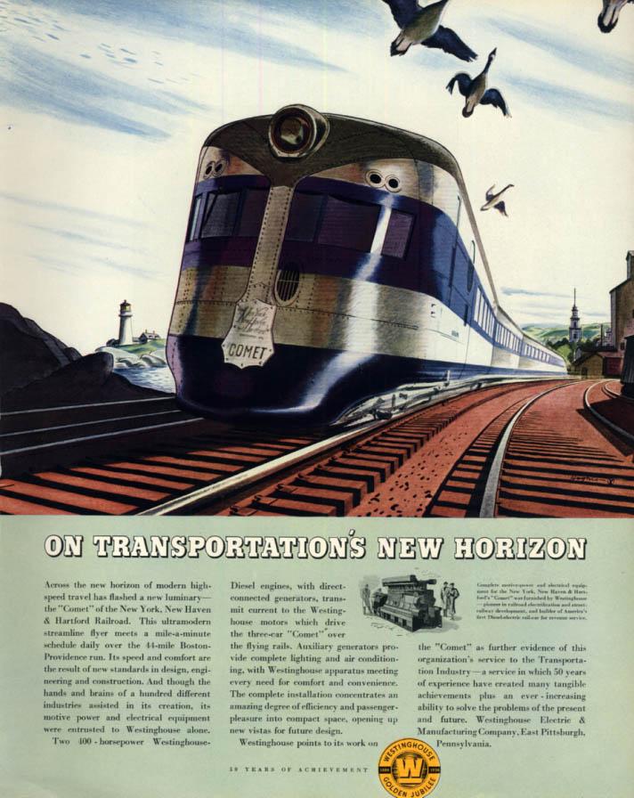 Image for New York New Haven & Hartford Comet Streamliner Westinghouse ad 1936 Ft