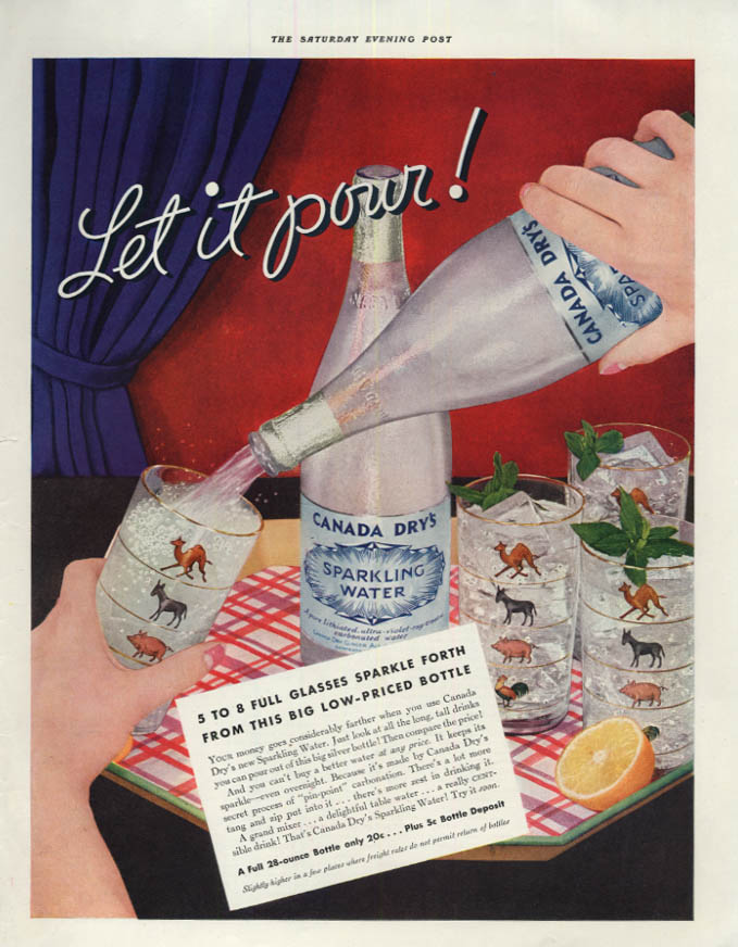 Image for Let it pour! Canada Dry Sparkling Water ad 1933 SEP