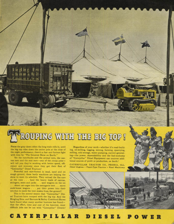 Image for Trouping with the Big Top Ringling Brothers Circus Caterpillar Power ad 1939 SEP