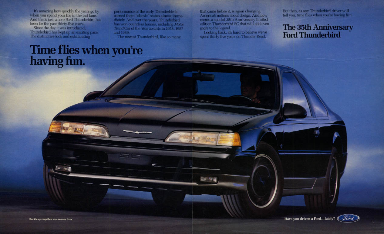 Image for Time flies when you're having fun: 35th Anniversary Ford Thunderbird ad 1990 L