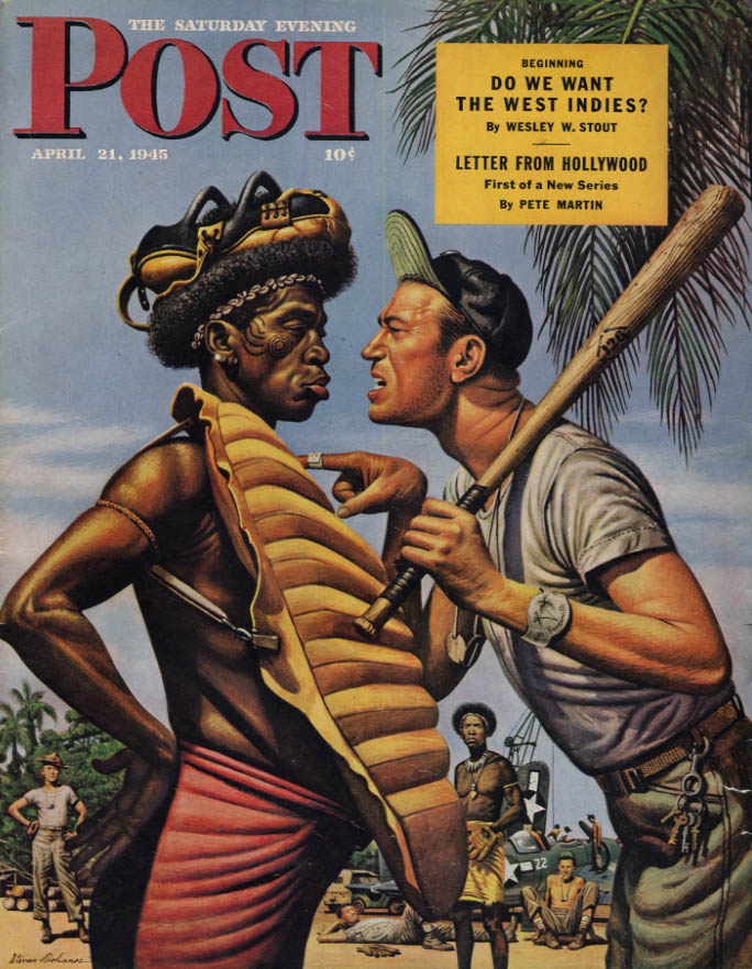 Image for SATURDAY EVENING POST COVER 4/21 1945 Dohanos: South Pacific native baseball ump