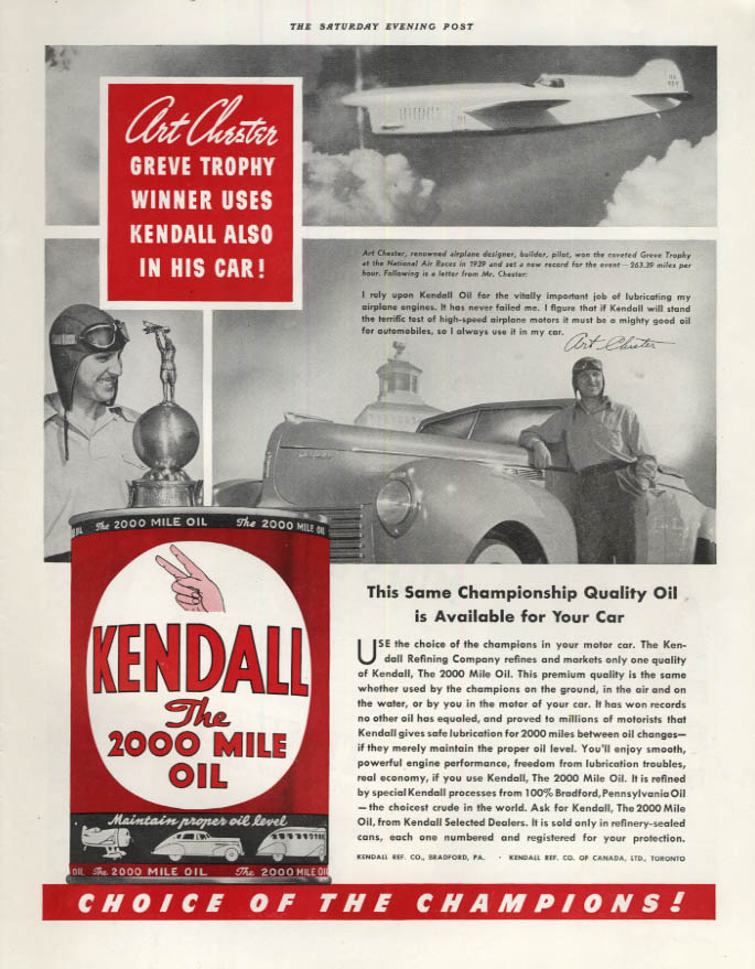 Image for Art Chester Greve Trophy Air Race Champ for Kendall Motor Oil ad 1940 SEP
