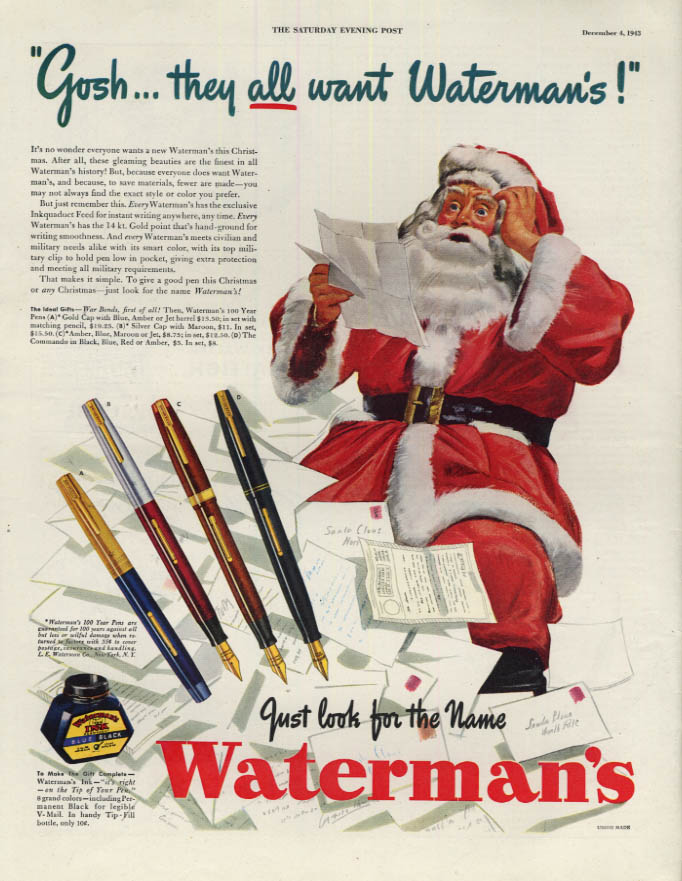 Image for Gosh, they all want Waterman Pens! Santa Claus looks at list ad 1943 SEP