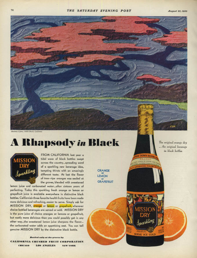 Image for Rhapsody in Black - Mission Dry Sparkling Orange ad 1930 Monterey Cypress by Cox