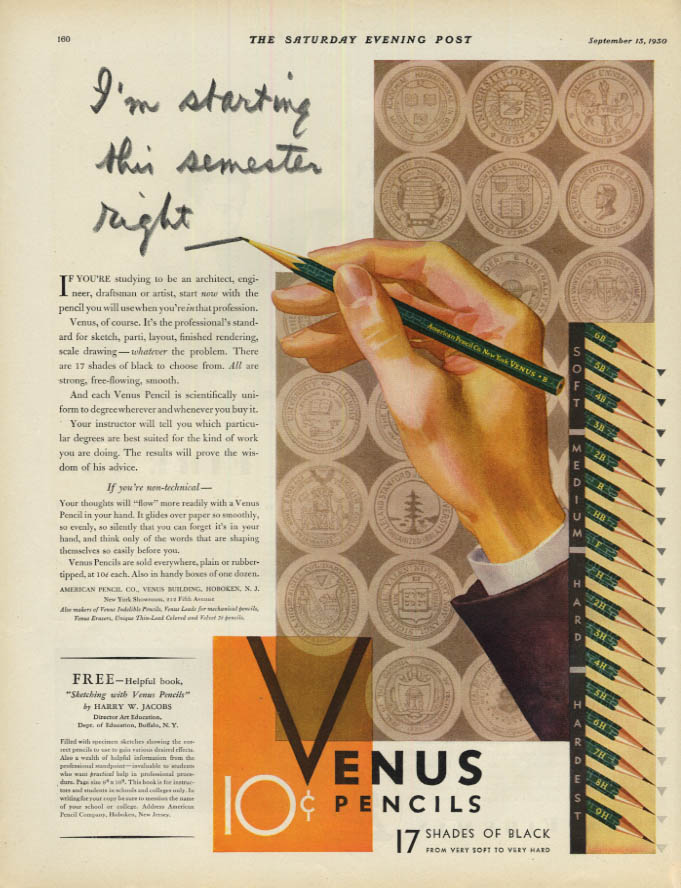 Image for I'm starting this semester right - Venus Pencils 17 shades of black ad 1930 SEP