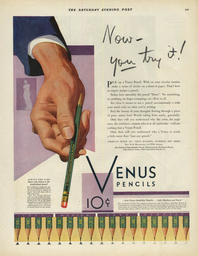 Image for Now you try it! Venus Pencils ad 1930 American Pencil Company SEP