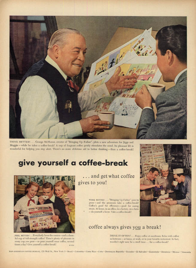Image for Give Yourself a Coffee-Break says cartoonist George McManus ad 1952 L