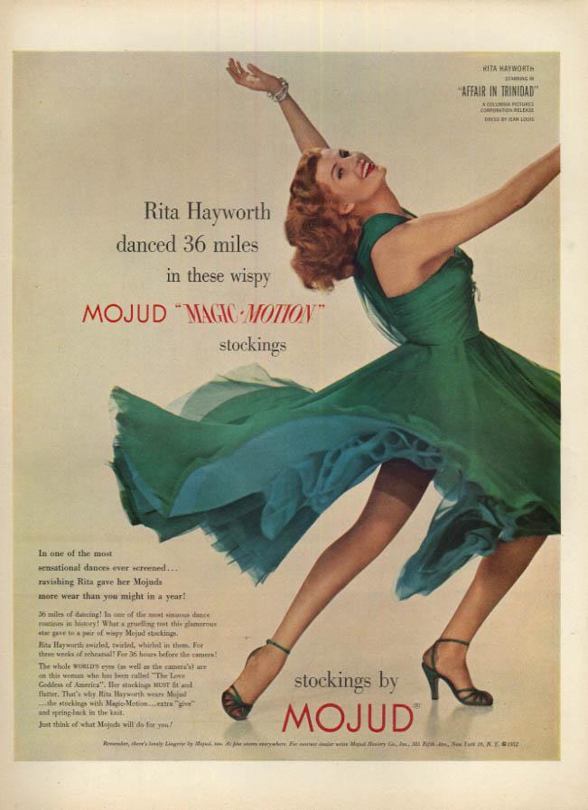 Image for Rita Hayworth danced 36 miles in wispy Mojud Magic-Motion Stockings ad 1952 L