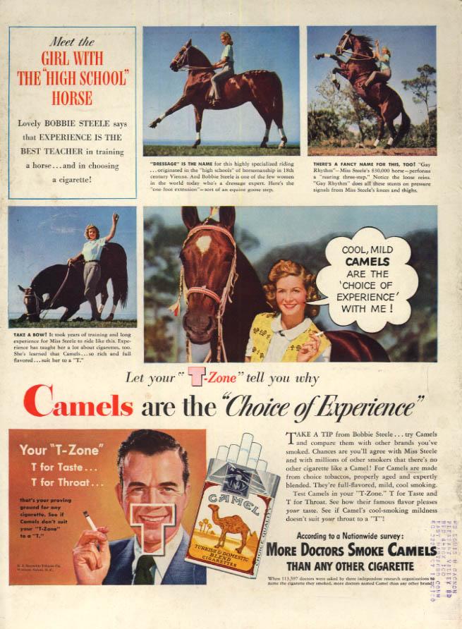 Image for Dressage rider Bobbie Steele for Camel Cigarettes ad 1948 L