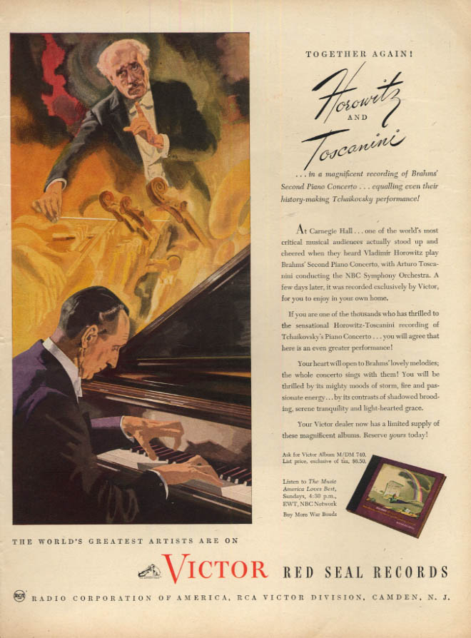 Image for Together again! Vladimir Horowitz & Toscanini RCA Victor Records ad 1945 L