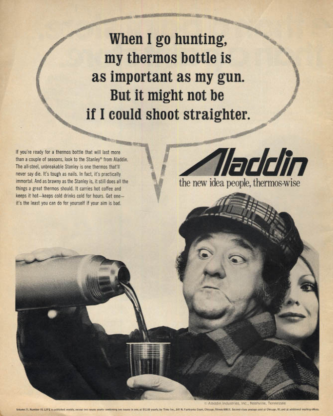 Image for When I go hunting my Aladdin Thermos Bottle - Buddy Hackett ad 1971 L