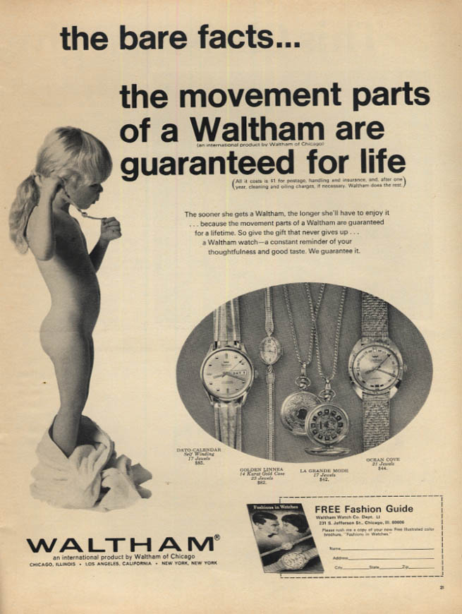 Image for Bare facts - Waltham watch movement parts guaranteed ad 1967 naked toddler L