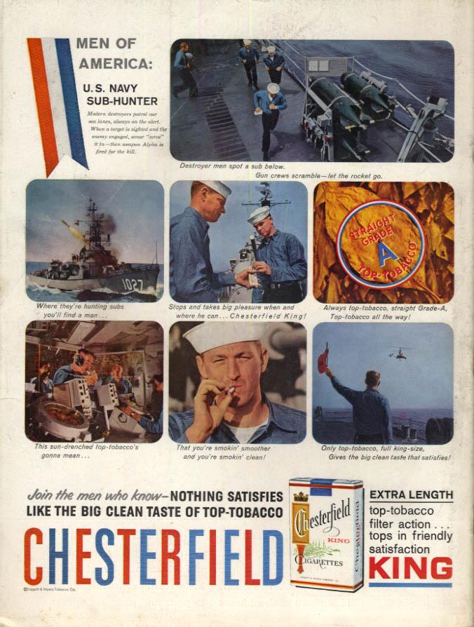 Image for Men of America USS John Willis DE-1027 for Chesterfield Cigarettes ad 1959 L