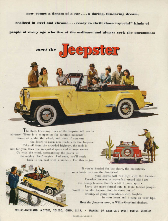 Image for Now comes a dream of a car Willys Jeepster ad 1949 H