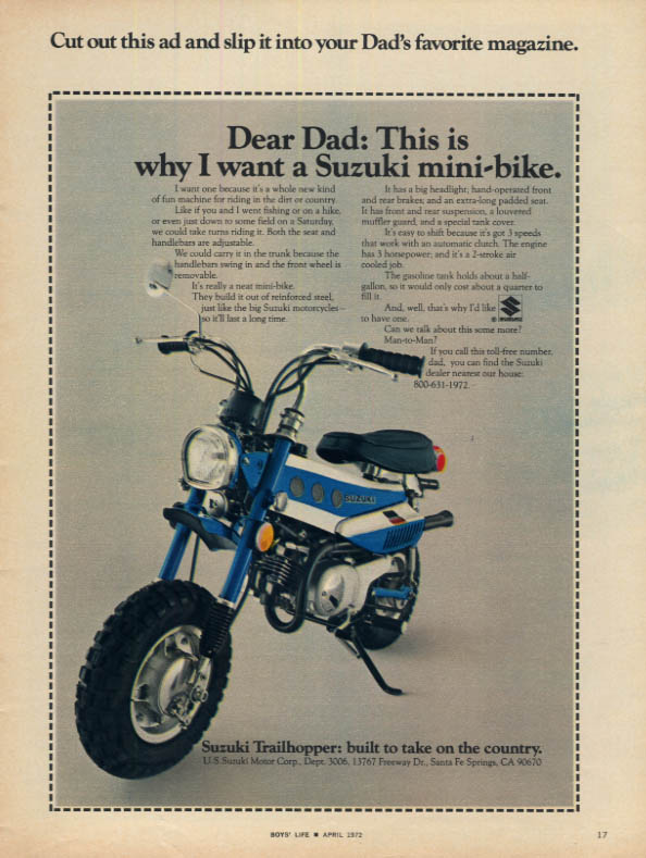 Image for Dear Dad This is why I want a Suzuki Trailhopper Mini-Bike ad 1972 BL