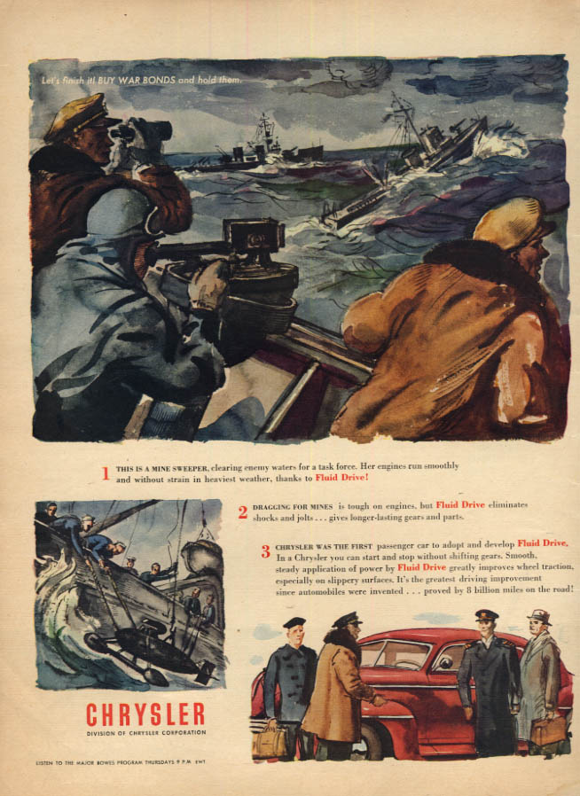 Image for US Navy Mine Sweeper World War II Chrysler Fluid Drive ad 1945 L