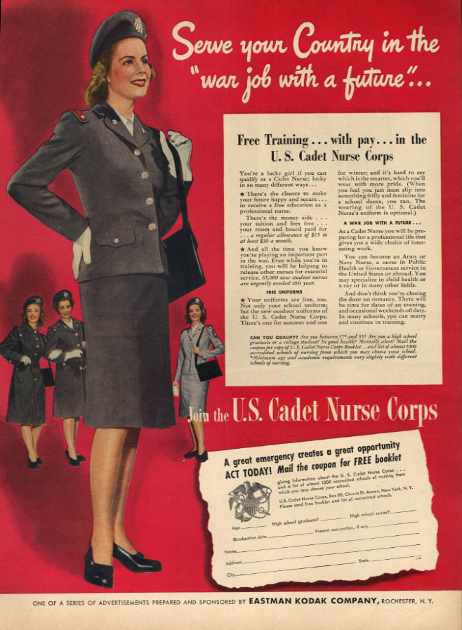 Image for Serve your Country in the war job with a future U S Cadet Nurse Corps ad 1944 L