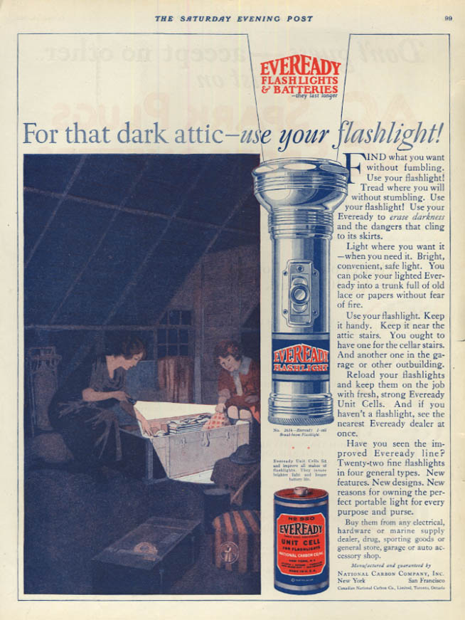Image for For that dark attic use your Eveready Flashlight ad 1924
