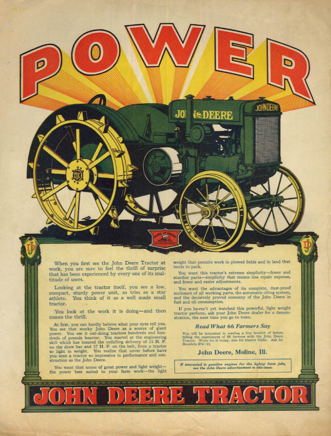 Image for POWER - When you first see the John Deere Tractor ad 1926 CG