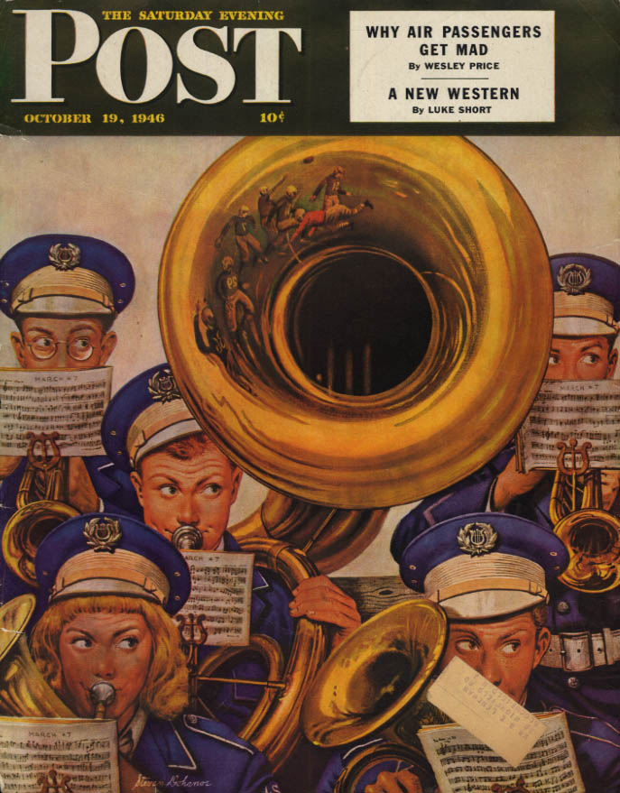 Image for SATURDAY EVENING POST COVER 10/19 1946 Dohanos: High School band tuba player